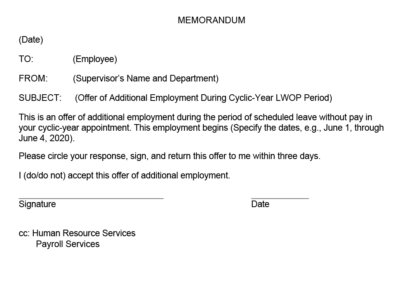 Example of memorandum for offer of additional employment during cyclic-year LWOP period