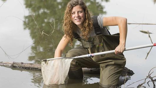 WSU student research in creek