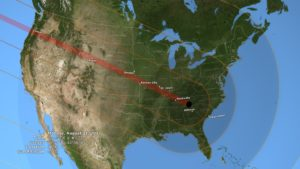 The total solar eclipse will follow this path arching from Oregon to South Carolina. (Map, courtesy NASA)