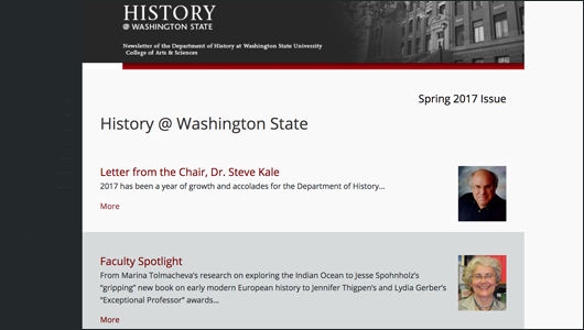 Screen shot image of history newsletter