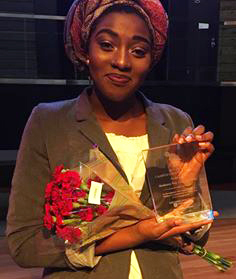 Student Basheera Agyeman with her Civic Poet Award