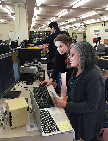 CDSC staff assist a member of a tribal stewardship cohort with a digital curation project.