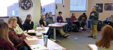 Marshall (sWSU students get writing tips from Washington poet laureate Tod Marshall.