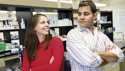 Omar Cornejo and Joanna Kelley in their WSU lab