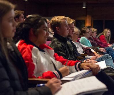 WSU students listen to Tremper's presentation in Wadleigh Theatre.