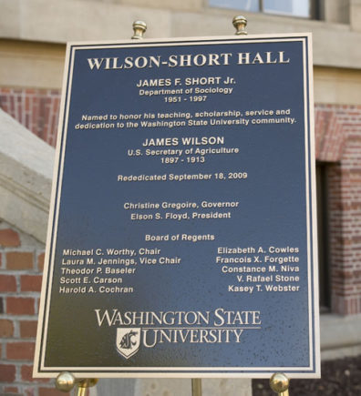 Dedication plaque for the building.
