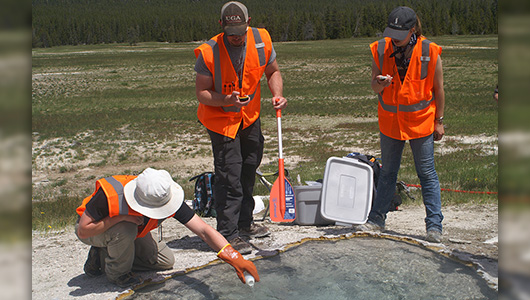 "Washington State University researchers ""spike"" a Yellowstone hot spring with deuterium, a stable isotope, to calculate water and heat flowing out of the springs and estimate how fast magma is recharging beneath the Yellowstone supervolcano. The material had no environmental impact and was done with a permit from the National Park Service"