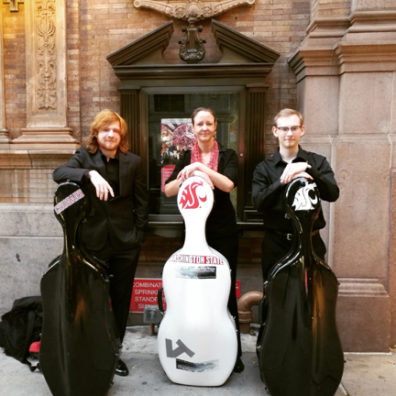 musicians with cello cases
