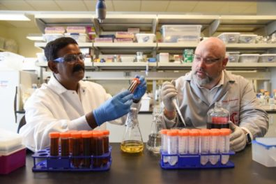 Student and researcher in laboratory.