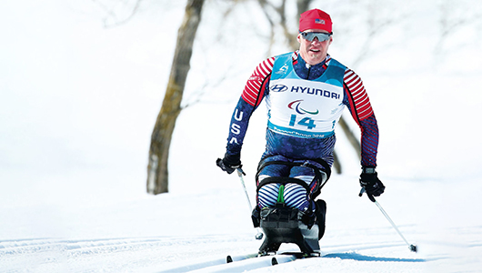 Sean Halsted skiing at the PyeongChange Winter Games.