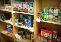 Shelves of non-perishable foods.