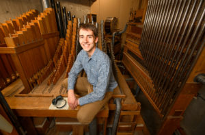 Thomas LeClair and the Webster pipe organ.