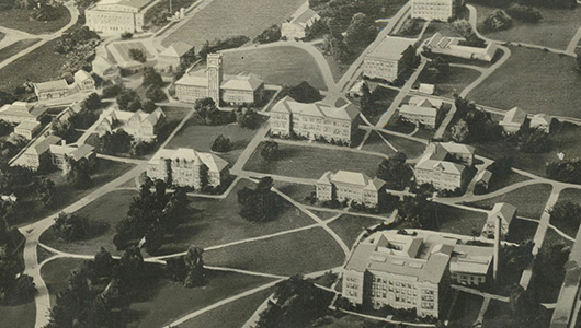 Aerial shot of historic WSU Pullman campus.