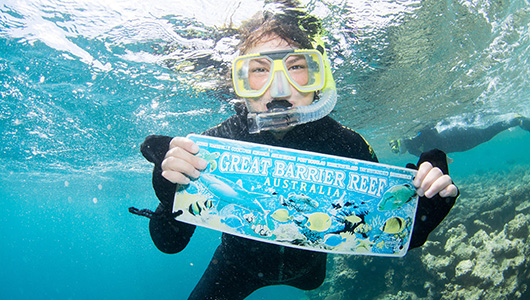 Emma Johnson snorkeling during spring/summer study abroad in the Great Barrier Reef.