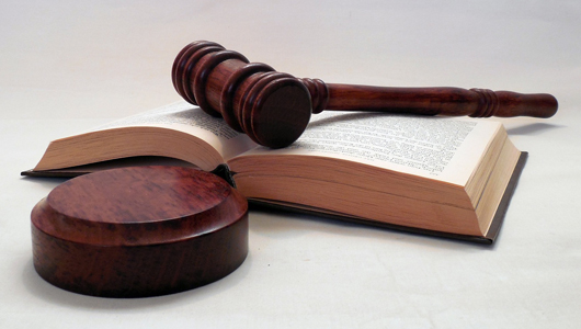 court gavel and book