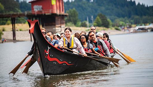A group in a canoe.