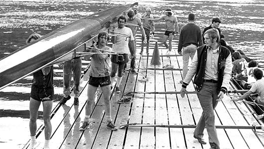 1973 WSU Cougar Crew on a dock.