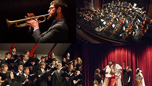4 images: A trumpet player, a full orchestra, a group of vocalists, and cast of performers on stage.