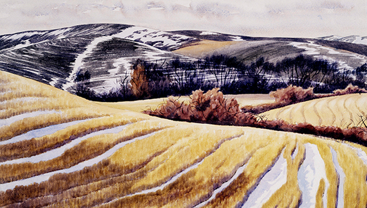 "Painting, ""Snow and Stubble,"" Z. Vanessa Helder."