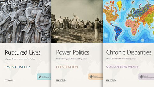 Book covers for Ruptured Lives, Power Politics, and Chronic Disparities.