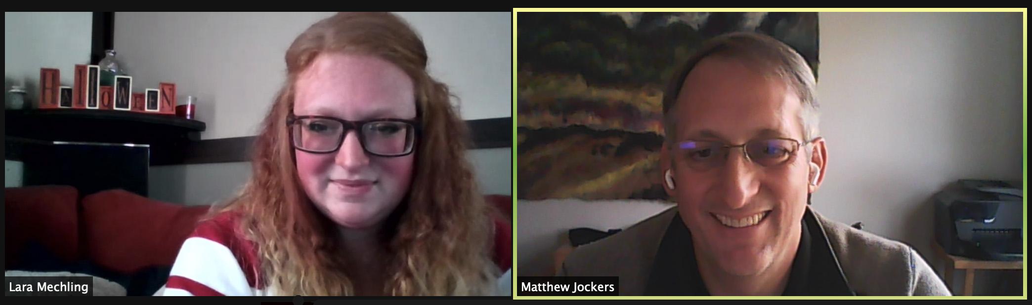 Lara Mechling and Matthew Jockers.