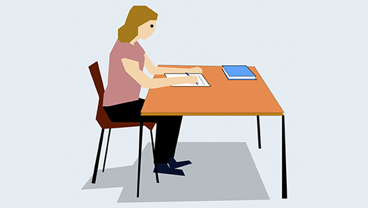 Illustration of a student working at a desk.