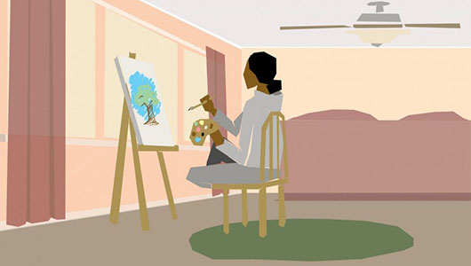 Illustration of a person painting.