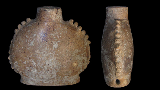 Ancient paneled flask.