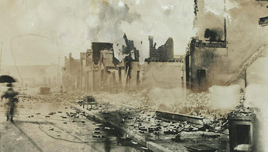 The heart of the prosperous African-American district of Greenwood after the massacre. National Archives.