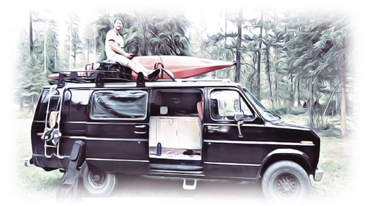 Dalton Russell poses with a kayak on top of a sports van.