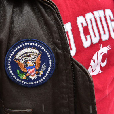 The official seal of the United States patch sewn onto a leather jacket.