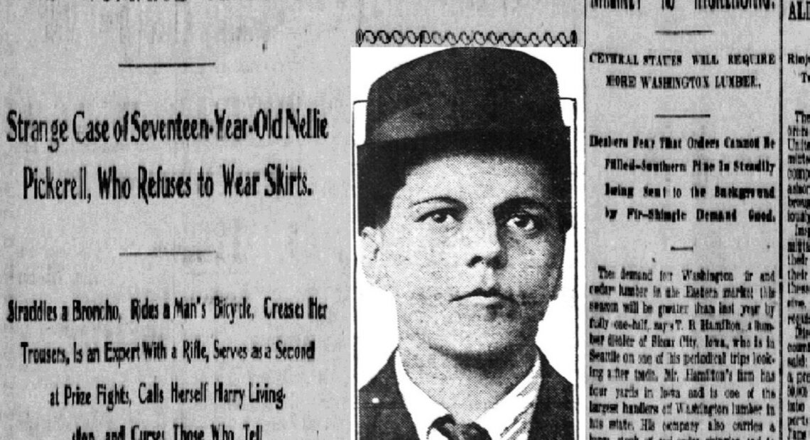 Newspaper clipping with text: Strange Case of Seventeen-Year-Old Nellie Pickerell, Who Refuses to Wear Skirts.