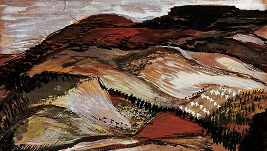 Painting by Hilda Deutsch, Palouse Landscape, 1939.