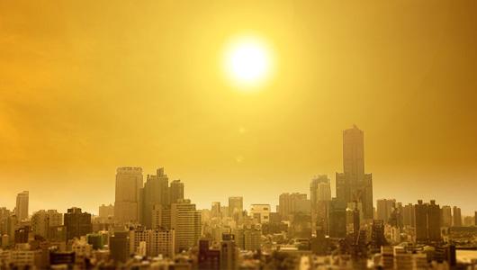 The sun over the city.