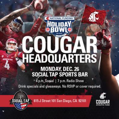 Cougar Headquarters, Social Tap sports bar, Monday, December 26