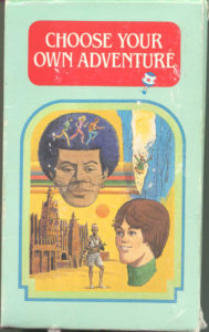 """Image 1: The box set art for the original 1979 """"Choose Your Own Adventure"""" Series. Image courtesy of http://www.gamebooks.org"""