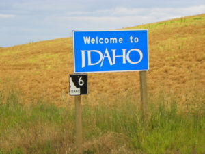 Sign welcoming motorists to Idaho. (Photo: J. Stephen Conn, some rights reserved)