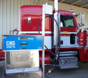 Hilarides Dairy (California) truck at a CNG dispensing pump. Credit: OWS (formerly Phase 3 Renewables).