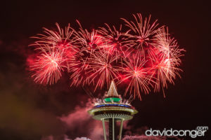 New Year's: Fireworks explode over Seattle Center in Seattle, WA from the iconic Space Needle. (Photo by David Conger / davidconger.com. David Conger under Creative Commons License CC BY-NC-ND 2.0)