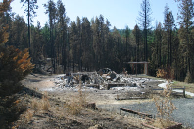 Rubble of a burned house, surrounded by scorched trees