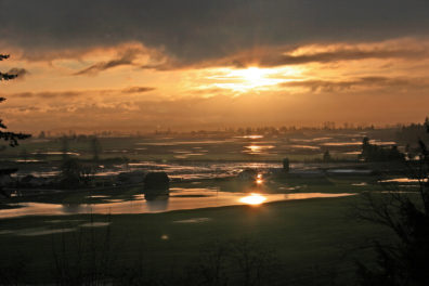 Sunset over a flooded agricultural landscape.