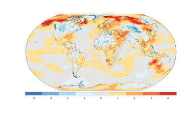 Map of the world colored from red (hot) to blue (cold), mostly showing reds.