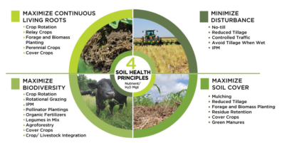 Figure with four quadrants, listing practices in four classes to improve soil health