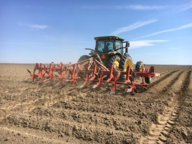 Bare field being tilled using a dammer-diker pulled by a tractor