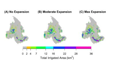 Three maps of the Columbia River Basin, showing location and amount (in different colors) of irrigated area for the three different scenarios studied