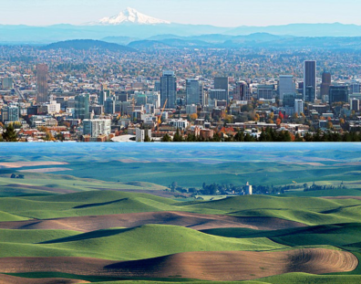 Top photo shows a large city with a snowcapped mountain in the background. The bottom picute shows rolling hills, with stripes of brown earth or green crops, with a town in the middle.
