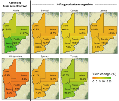 Seven maps of the 4 counties, showing the percent change in yields between the two time periods for each crop studied (two current crops + 5 vegetable crops)