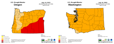 Maps of Oregon and Washington, showing some degree of drought across the whole state, and extreme drought in southeastern Oregon