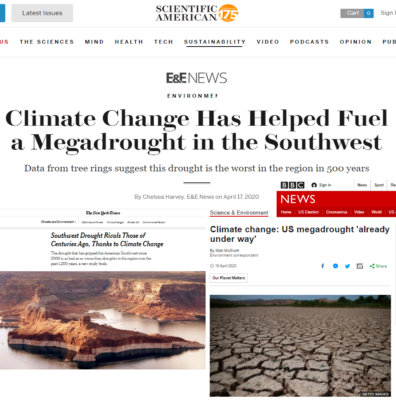 Collage of three articles from news outlets - The New York Times, Scientific American, BBC News - on the megadrought paper