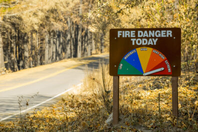"Roadside Fire Danger sign showing ""Extreme"" danger"